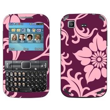 Виниловая наклейка «Орнамент из фиолетовых цветов» на телефон Samsung C3222 Duos