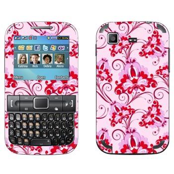 Виниловая наклейка «Орнамент розовые цветы» на телефон Samsung C3222 Duos