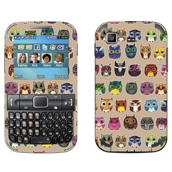 Виниловая наклейка «Разноцветные совы» на телефон Samsung C3222 Duos