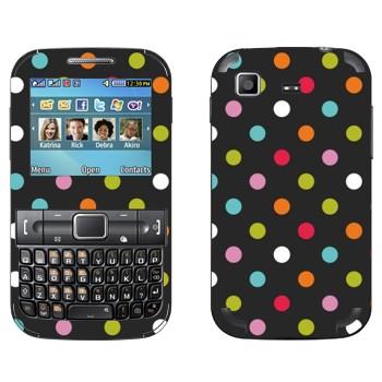 Виниловая наклейка «Разноцветные точки на черном фоне» на телефон Samsung C3222 Duos