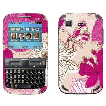 Виниловая наклейка «Розовая бабочка на цветах» на телефон Samsung C3222 Duos