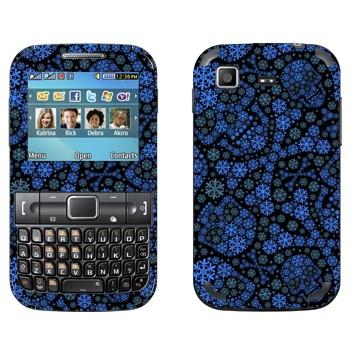 Виниловая наклейка «Синие черепа из снежинок» на телефон Samsung C3222 Duos
