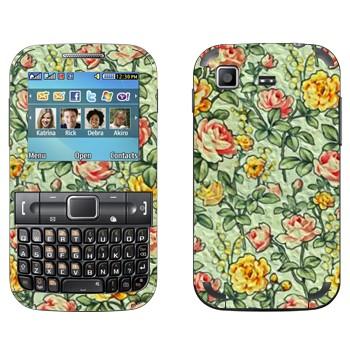 Виниловая наклейка «Цветочный орнамент желтые и красные цветы» на телефон Samsung C3222 Duos