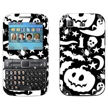 Виниловая наклейка «Тыквы, привидения, черепа» на телефон Samsung C3222 Duos