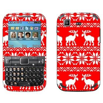Виниловая наклейка «Вязаный красный свитер с белыми оленями» на телефон Samsung C3222 Duos