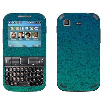 Виниловая наклейка «Значки на синем» на телефон Samsung C3222 Duos