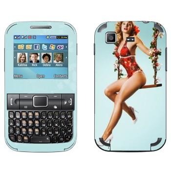 Виниловая наклейка «Девушка на качелях» на телефон Samsung C3222 Duos