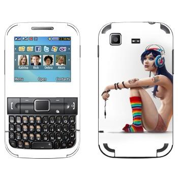 Виниловая наклейка «Девушка полуголая в наушниках» на телефон Samsung C3222 Duos