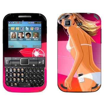 Виниловая наклейка «Девушка с доской для серфинга» на телефон Samsung C3222 Duos