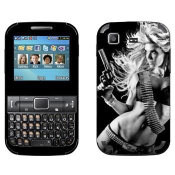 Виниловая наклейка «Девушка с пистолетом» на телефон Samsung C3222 Duos
