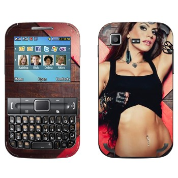 Виниловая наклейка «Девушка в топике» на телефон Samsung C3222 Duos
