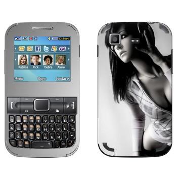 Виниловая наклейка «Красивая девушка в наушниках» на телефон Samsung C3222 Duos