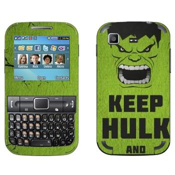 Виниловая наклейка «Keep Hulk and» на телефон Samsung C3222 Duos
