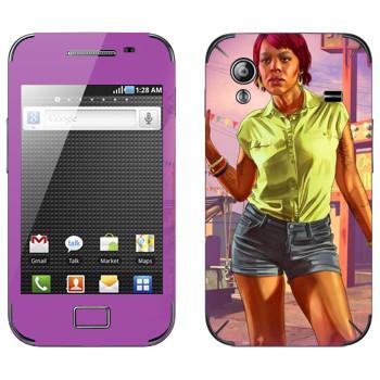 Виниловая наклейка «Девушка афро - GTA 5» на телефон Samsung Galaxy Ace