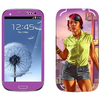 Виниловая наклейка «Девушка афро - GTA 5» на телефон Samsung Galaxy S3