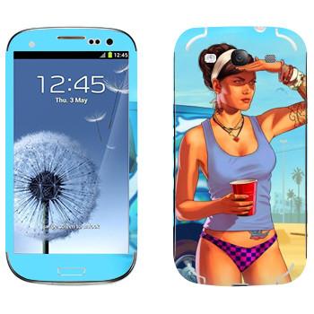 Виниловая наклейка «Девушка на пляже - GTA 5» на телефон Samsung Galaxy S3