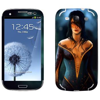 Виниловая наклейка «Dragon age - Девушка с глубоким декольте» на телефон Samsung Galaxy S3