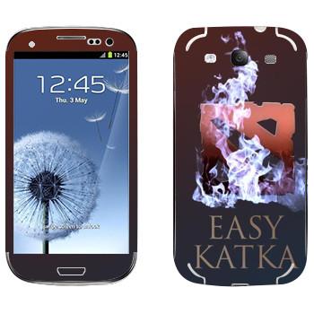 Виниловая наклейка «Easy Katka огонь» на телефон Samsung Galaxy S3