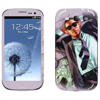 Виниловая наклейка «Мужик с деньгами - GTA 5» на телефон Samsung Galaxy S3