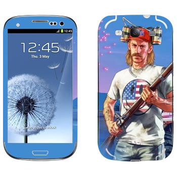Виниловая наклейка «Мужик с ружьем в пивной шапке - GTA 5» на телефон Samsung Galaxy S3
