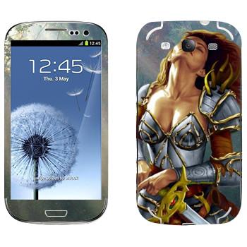 Виниловая наклейка «Neverwinter Девушка-воин» на телефон Samsung Galaxy S3