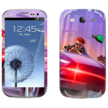 Виниловая наклейка «Перестрелка - GTA 5» на телефон Samsung Galaxy S3