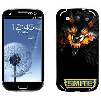 Виниловая наклейка «Smite Wolf» на телефон Samsung Galaxy S3