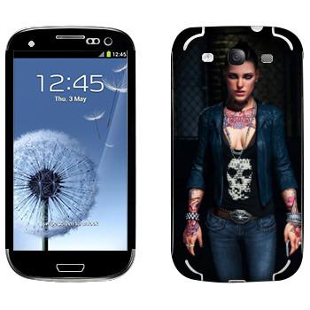 Виниловая наклейка «Татуированная девушка - Watch Dogs» на телефон Samsung Galaxy S3