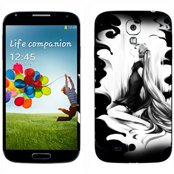 Виниловая наклейка «Мику Хацунэ черно-белая» на телефон Samsung Galaxy S4