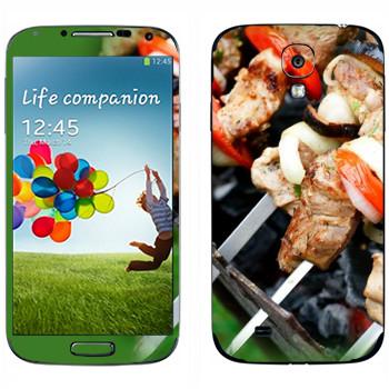 Виниловая наклейка «Шашлык на мангале» на телефон Samsung Galaxy S4