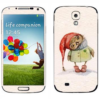 Виниловая наклейка «Сова в пальто» на телефон Samsung Galaxy S4