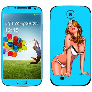 Виниловая наклейка «Девушка в нижнем белье» на телефон Samsung Galaxy S4