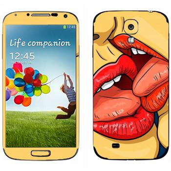 Виниловая наклейка «Французский поцелуй» на телефон Samsung Galaxy S4