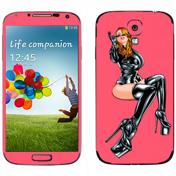 Виниловая наклейка «Женщина в латексе» на телефон Samsung Galaxy S4