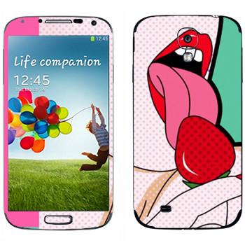 Виниловая наклейка «Сладкая клубника» на телефон Samsung Galaxy S4