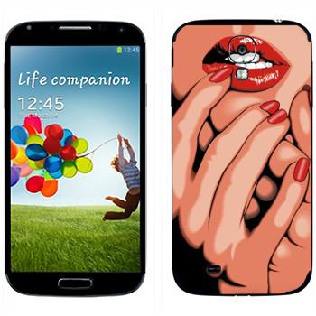 Виниловая наклейка «Страстные губы» на телефон Samsung Galaxy S4