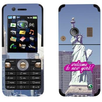 Виниловая наклейка «Статуя Свободы  - Добро пожаловать в Нью-Йорк» на телефон Sony Ericsson K530i