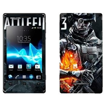 Виниловая наклейка «Battlefield 3 - военный» на телефон Sony Xperia E/Xperia E Dual