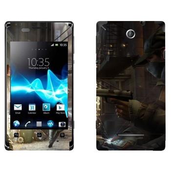 Виниловая наклейка «Watch Dogs  - Невидимый» на телефон Sony Xperia E/Xperia E Dual