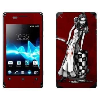 Виниловая наклейка «Алиса черно-белая - Алиса: безумие возвращается» на телефон Sony Xperia E/Xperia E Dual