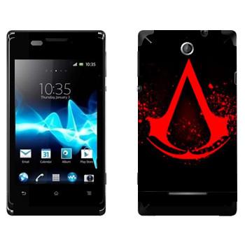 Виниловая наклейка «Assassins creed кровавое лого» на телефон Sony Xperia E/Xperia E Dual