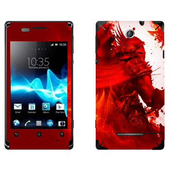 Виниловая наклейка «Dragon Age - Красный рыцарь» на телефон Sony Xperia E/Xperia E Dual