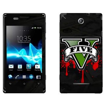 Виниловая наклейка «GTA 5 - logo blood» на телефон Sony Xperia E/Xperia E Dual
