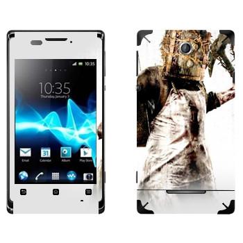 Виниловая наклейка «The Evil Within - Монстр с сейфом на голове» на телефон Sony Xperia E/Xperia E Dual