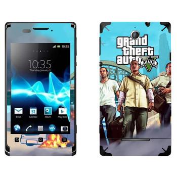 Виниловая наклейка «Трое - GTA5» на телефон Sony Xperia E/Xperia E Dual