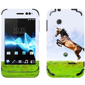 Виниловая наклейка «Лошадь на дыбах на лугу» на телефон Sony Xperia Tipo