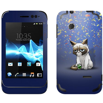 Виниловая наклейка «Сердитый кот и конфети» на телефон Sony Xperia Tipo